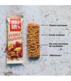 Les ingrédients de la barre Mulebar cacahuète framboise en image