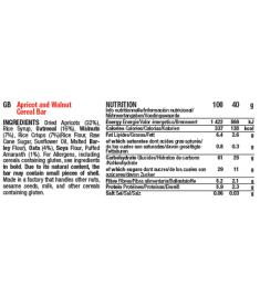 Table nutritionnelle barre Mulebar Abricot noix