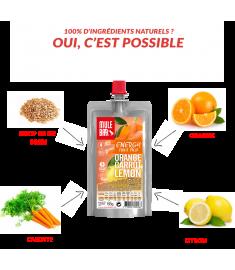 Ingrédients pulpe de fruits  Orange Carotte citron Mulebar